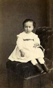 France Rouen Enfant Fillette Mode ancienne Photo CDV Witz 1870'