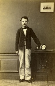 France Chartres Second Empire Fashion Boy Old Photo CDV Gallas 1860's