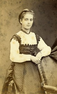 France Beauvais Second Empire Fashion Young Girl Old Photo CDV Herbert 1860s