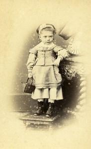 France Rouen Fashion Children Basket Old Photo CDV Renouard 1870'