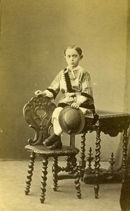 France Caen Second Empire Fashion Children Old Photo CDV Baudelaire 1860's