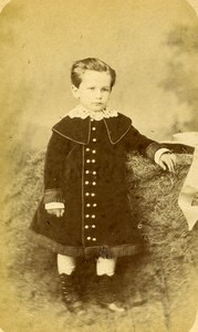 France Le Mans Second Empire Fashion Children Old Photo CDV Gustave 1870'