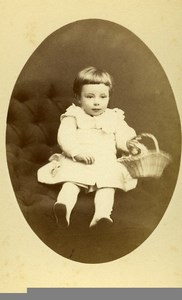 France Dreux Fashion Children Basket Old Photo CDV Vaudron 1870'