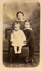 France Amiens Siblings Children Bassecour Family Old Photo CDV Vivot 1879