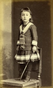 France Troyes Fashion Children Young Girl Old Photo CDV Lancelot 1880's