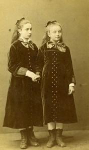 Germany Coblenz Fashion Children Sisters? Old Photo CDV Laux 1870's