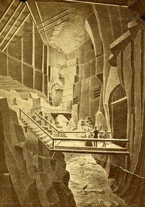 Poland Wieliczka? Salt Mine Chamber Old Photo of Gravure CDV 1870'