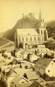 Allemagne Oberwesel Eglise Notre Dame Panorama ancienne Photo CDV 1870'
