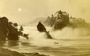 Suisse Chutes du Rhin Panorama ancienne Photo CDV 1870'