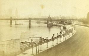 Royaume Uni Londres La Tamise depuis le Waterloo Bridge ancienne Photo CDV Hayler 1870'