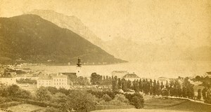 Austria Gmunden Panorama Traunsee Lake Old Photo CDV Wurthle 1870'