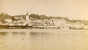 Austria Gmunden Panorama Traunsee Lake Old Photo CDV Baldi & Wurthle 1870'