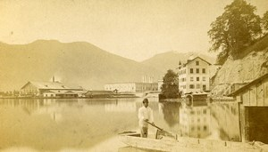Austria Ebensee Panorama Seaside Old Photo CDV Baldi & Wurthle 1870'