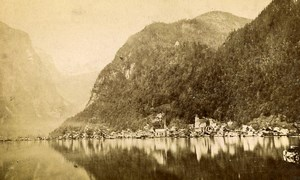 Austria Hallstatt Hallstätter See Panorama Old Photo CDV 1870'