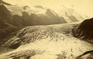 Austria Grossglockner Pasterze Glacier Old Photo CDV Unterberger 1870'
