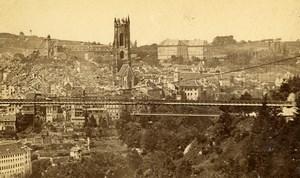Switzerland Friburg Panorama Old Photo CDV Lorson 1870'