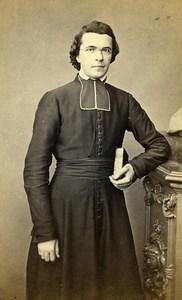 France Lille Religion Priest Decorne Church St Etienne Old Photo CDV Lyon 1870'