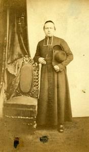 France Paris Religion Pretre Soutane ancienne Photo CDV 1870'