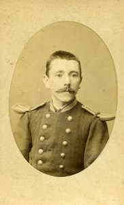 France Lille Military Soldier Uniform Moustache Old Photo CDV Mallart 1900'