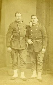 France Militaire 2 Soldats en Uniforme ancienne Photo CDV 1870'