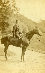 United Kingdom East Linton Man on Horse Countryside Old Photo CDV Nisbet 1870'