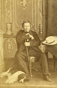 Argentina Buenos Aires French Diplomat & Dog Old Photo CDV 1863'