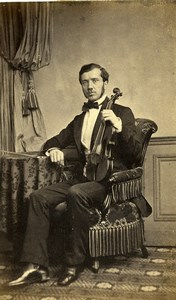 France Paris Musician Violinist & his Violin Old Photo CDV Mayer 1861'