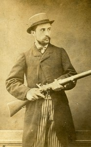 France Roubaix Hunter Rifle Old Photo CDV Wilhem & Cailleteau 1870'
