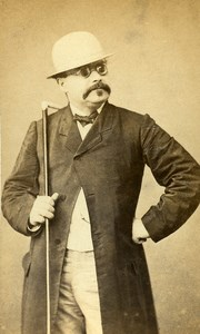 France Paris Man with glasses & Hat Walking Stick Old Photo CDV Lagriffe 1870'
