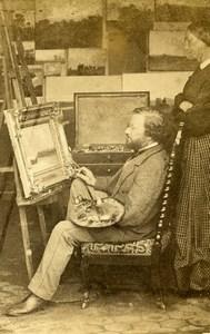 France le Peintre devant son chevalet Tableau ancienne Photo CDV 1870'