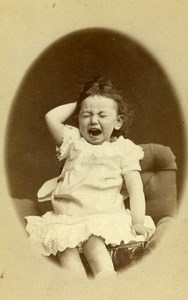 France Paris Unhappy Child Toddler Crying Old Photo CDV Chambay 1870'