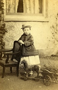London Hornsey Child with Horse Toy Wheelbarrow Old Photo CDV Williams 1865'