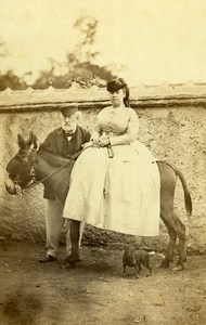 France Donkey Ride Lady & Old Man Old Photo CDV 1870'