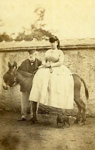 France Promenade à dos d'ane Dame et Vieil Homme ancienne Photo CDV 1870'
