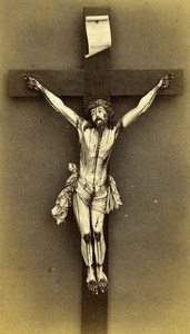 Belgium Brussels Jesus Christ Cross Old Photo CDV Rosman 1870'