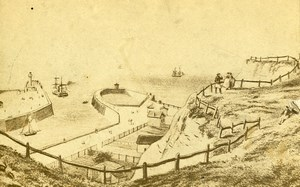 France Dieppe Pier Panorama Old Photo of ravure CDV Morier 1870'