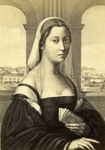 Italy Firenze Pitti La Monaca di Leonardo da Vinci Old CDV Photo Brogi 1860