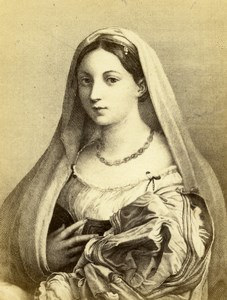 Italy Firenze Pitti Raphael La donna velata Old CDV Photo Brogi 1860