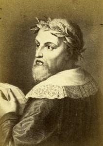 Italy Firenze Poet Ludovico Ariosto Portrait Old CDV Photo Brogi 1860