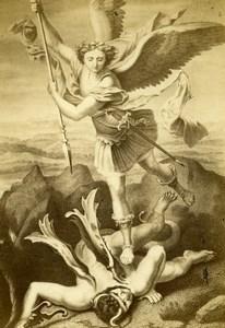 Italy Firenze Raphael St. Michael Vanquishing Satan Old CDV Photo Brogi 1860