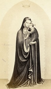 Italy Firenze Arts Fra Angelico Madonna della Stella Old CDV Photo Brogi 1860