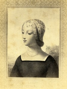 Italy Firenze Arts Laura de Noves Petrarca Portrait Old CDV Photo 1860