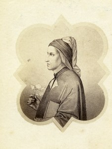 Italy Firenze Arts Giotto Dante Alighieri Old CDV Photo 1860