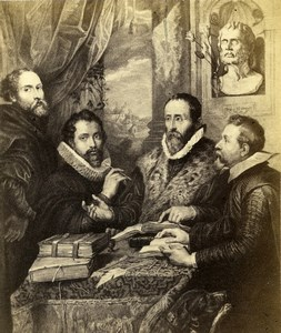 Italy Firenze Arts Palazzo Pitti Rubens The Four Philosophers Old CDV Photo 1860