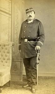 France Paris Military Soldier Sword Old CDV Photo Bureau 1870