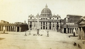 Italy Rome Papal Basilica of St. Peter in the Vatican old CDV Photo Sommer 1870