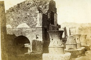Italy Pompeii Ruins Bakery Old CDV Photo Sommer 1870