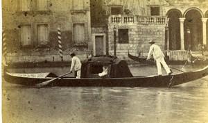 Italy Venice Venezia Gondola Canal Old CDV Photo Carlo Ponti 1870
