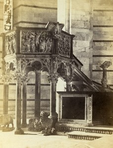 Italy Pisa Baptistry Pulpit Old CDV Photo Van Lint 1870