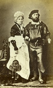 France Couple in Costume Fashion Stage Actors? Old Calavas? CDV Photo 1890